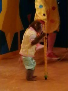 竹馬に乗ってステージを走ります。
